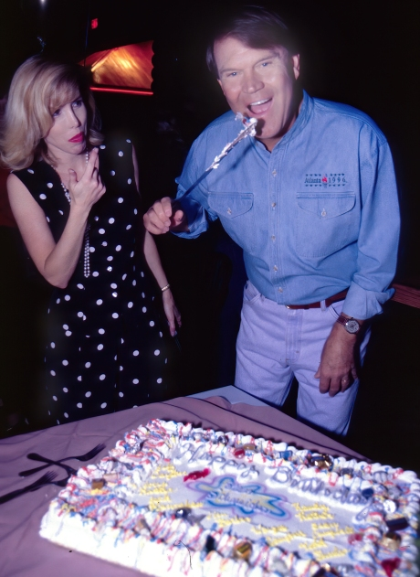 Kim and Glen Campbell clean up the good stuff after cutting his 60th birthday cake. ©John S. Stewart/OzarkStockPhotography.com