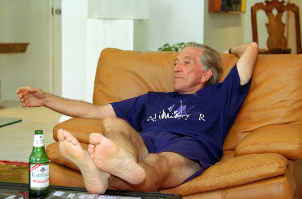 Andy Williams relaxing in his Branson, Missouri Moon River Theatre dressing room after a round of golf.